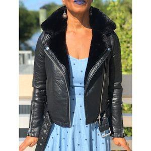 Top Shop Motorcycle Jacket | Faux Fur Collar